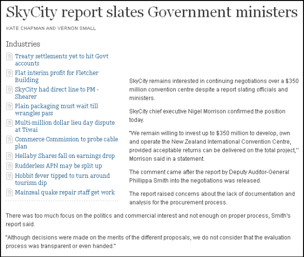 SkyCity report slates Government ministers