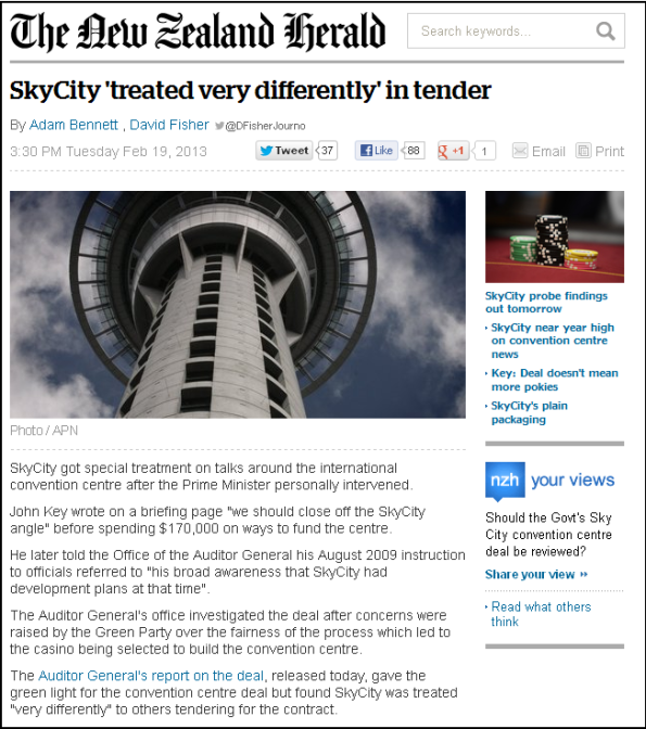 SkyCity 'treated very differently' in tender