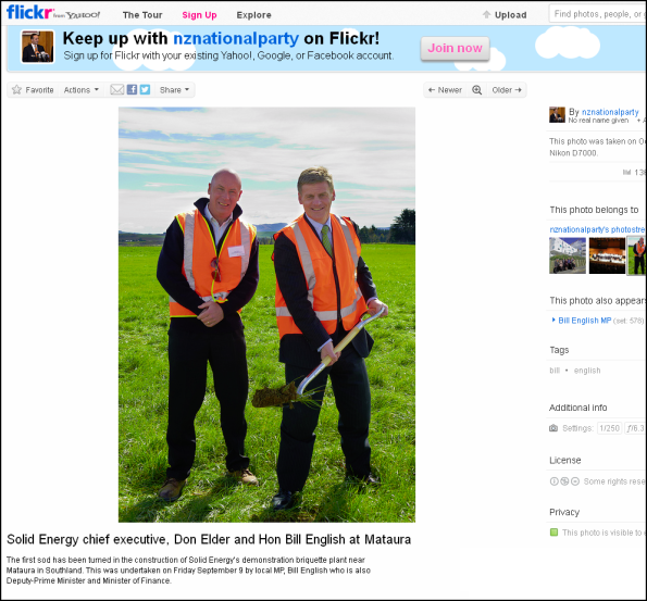 Solid Energy chief executive, Don Elder and Hon Bill English at Mataura  - 9 sept 2011