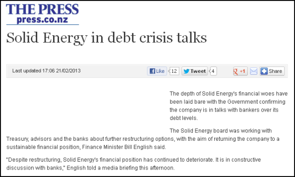 Solid Energy in debt crisis talks