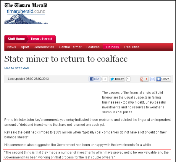 State miner to return to coalface