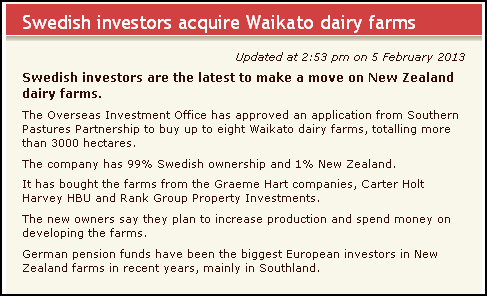 Swedish investors acquire Waikato dairy farms