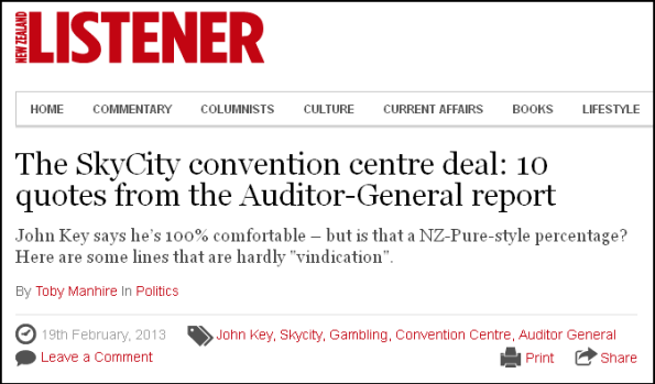 The SkyCity convention centre deal 10 quotes from the Auditor-General report