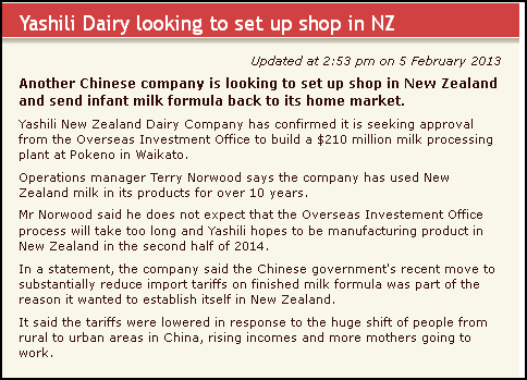 Yashili Dairy looking to set up shop in NZ