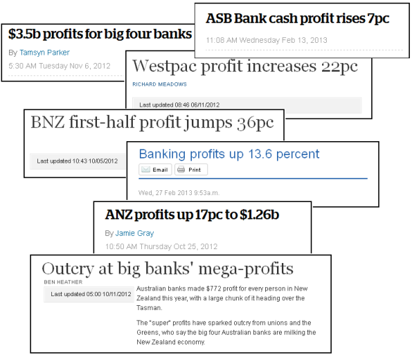 bank profits headlines collage