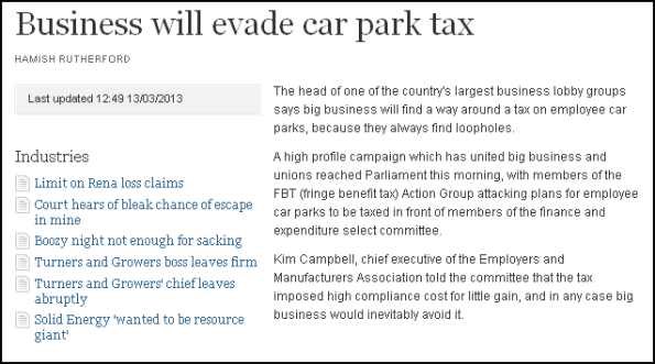 Business will evade car park tax