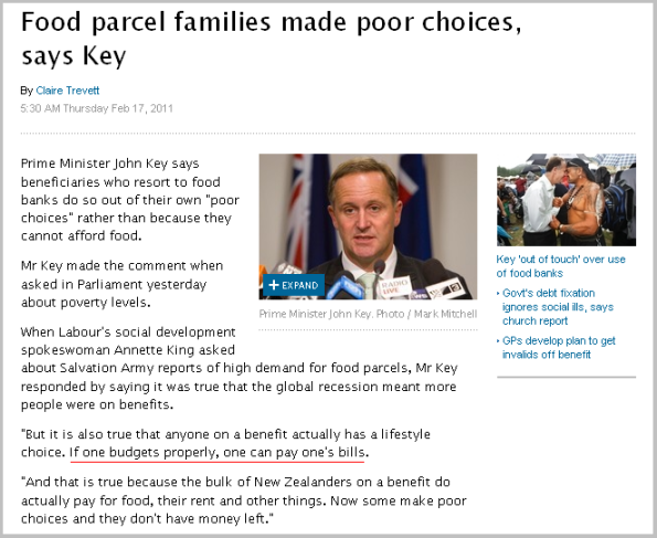 Food parcel families made poor choices, says Key