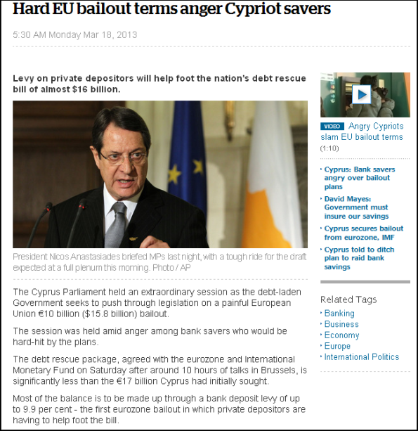 Hard EU bailout terms anger Cypriot savers