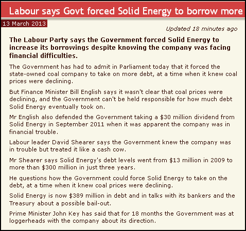 Labour says Govt forced Solid Energy to borrow more