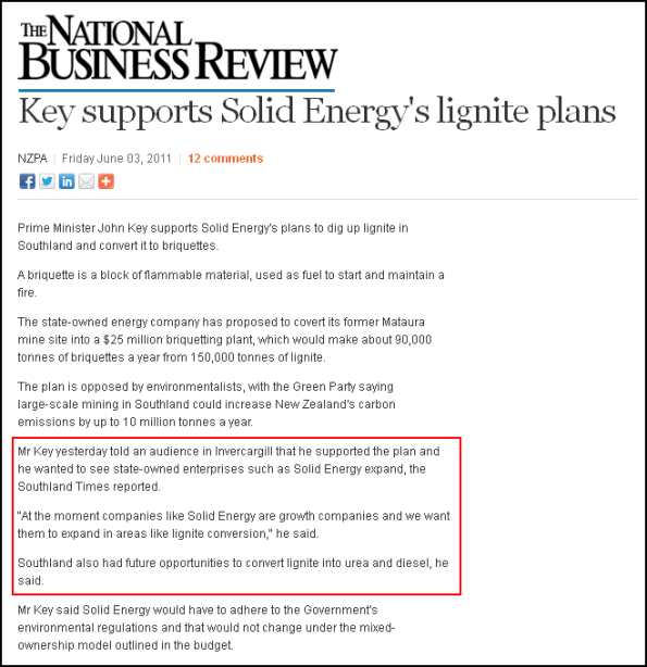 national business review - nbr - Key supports Solid Energy's lignite plans