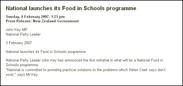 National launches its Food in Schools programme