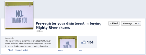 Pre-register your disinterest in buying Mighty River shares