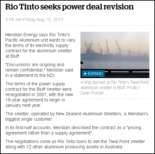 Rio Tinto seeks power deal revision