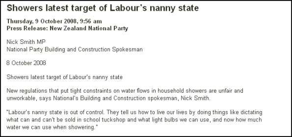 Showers latest target of Labour's nanny state