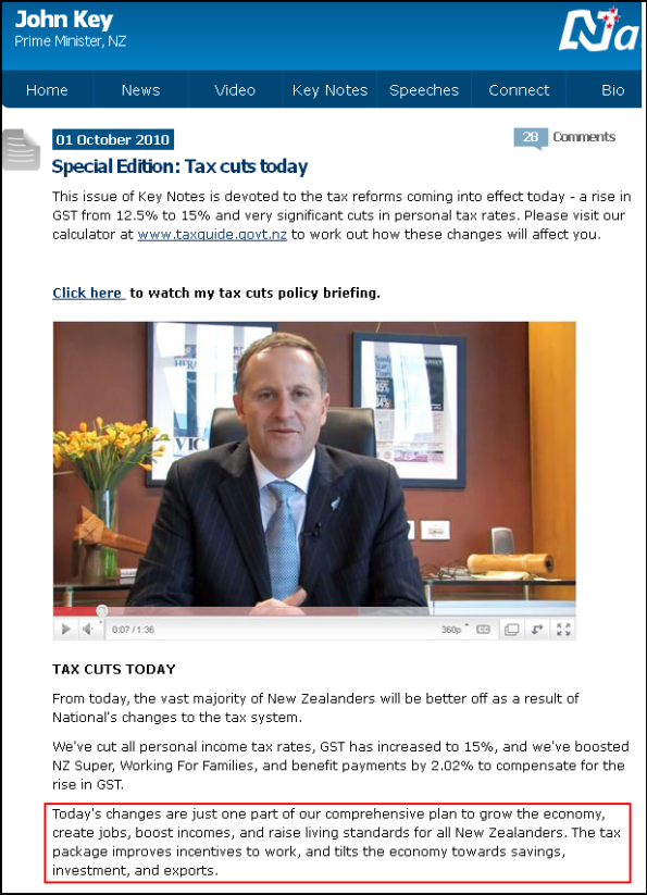 Special Edition Tax cuts today - John Key