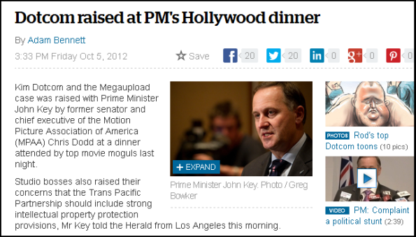 Dotcom raised at PM's Hollywood dinner