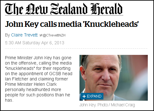 Herald - John Key calls media 'Knuckleheads'