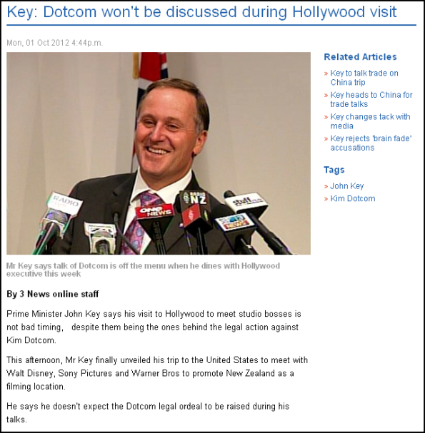 Key - Dotcom won't be discussed during Hollywood visit