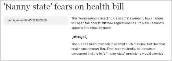 'Nanny state' fears on health bill