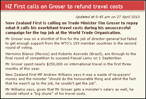 NZ First calls on Groser to refund travel costs