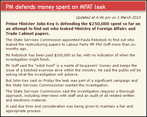 PM defends money spent on MFAT leak