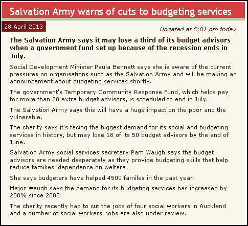 Salvation Army warns of cuts to budgeting services