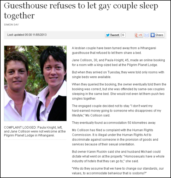 Guesthouse refuses to let gay couple sleep together