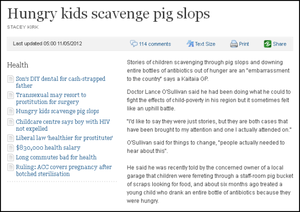 Hungry kids scavenge pig slops