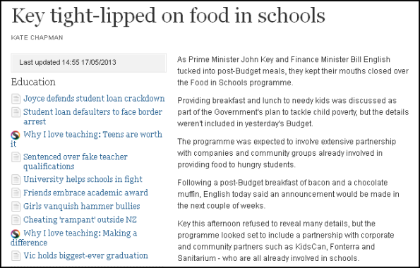 child poverty - hungry children - budget 2013 - bill english - john key