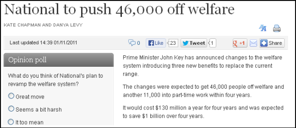 National to push 46,000 off welfare