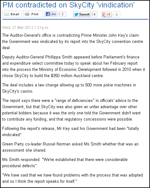 PM contradicted on SkyCity 'vindication'