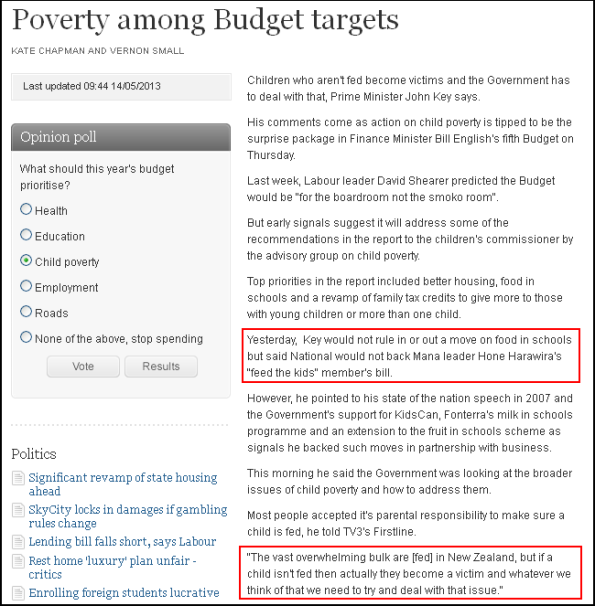 Poverty among Budget targets