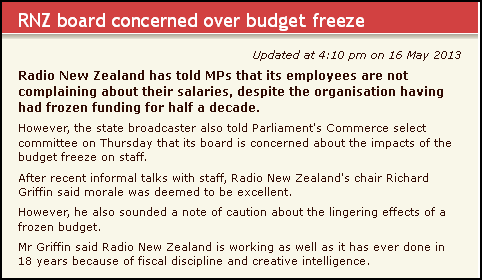 RNZ board concerned over budget freeze