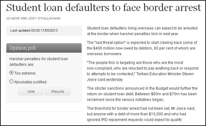 Student loan defaulters to face border arrest