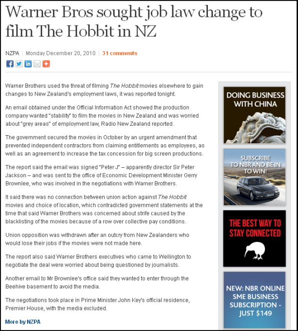 Warner Bros sought job law change to film The Hobbit in NZ