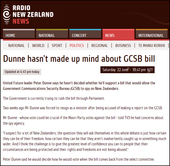 Dunne hasn't made up mind about GCSB bill