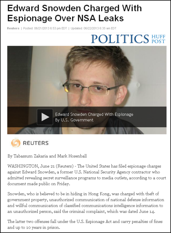 Edward Snowden Charged With Espionage Over NSA Leaks