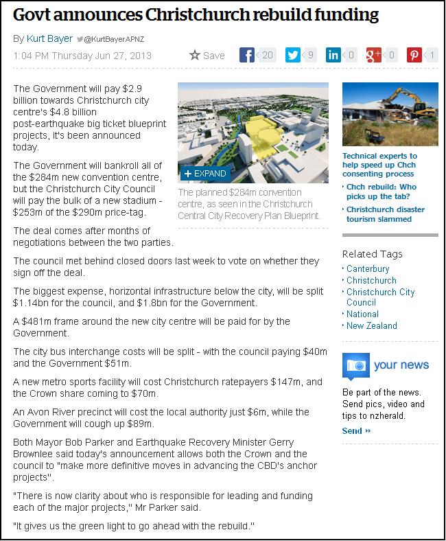 Govt announces Christchurch rebuild funding