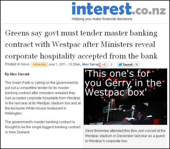 Greens say govt must tender master banking contract with Westpac after Ministers reveal corporate hospitality accepted from the bank