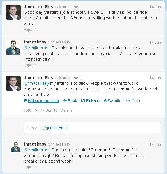 jamie lee ross - twitter conversation - 14 june 2013
