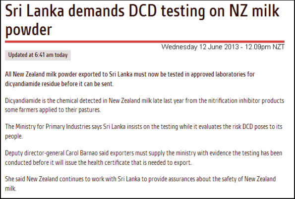 Sri Lanka demands DCD testing on NZ milk powder