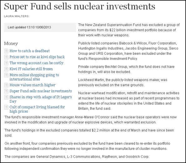 Super Fund sells nuclear investments