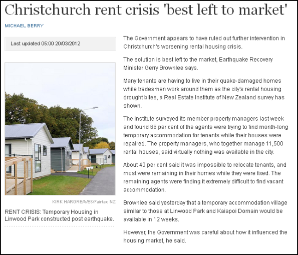 Christchurch rent crisis 'best left to market'