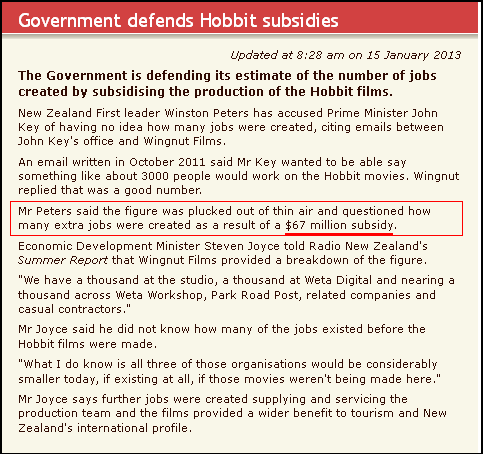 Government defends Hobbit subsidies
