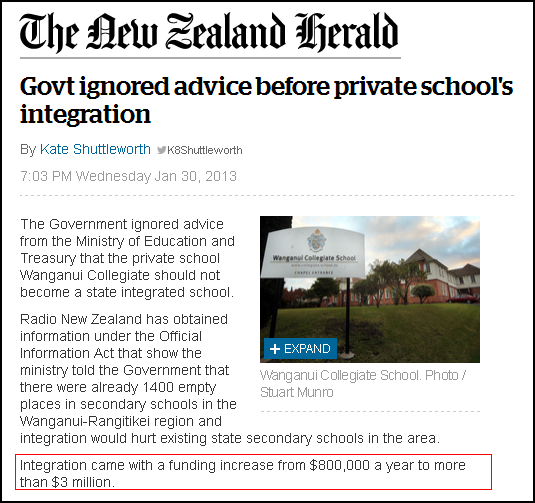 Govt ignored advice before private school's integration