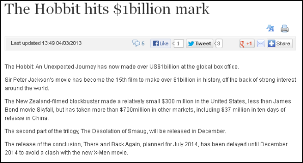 The Hobbit hits $1billion mark