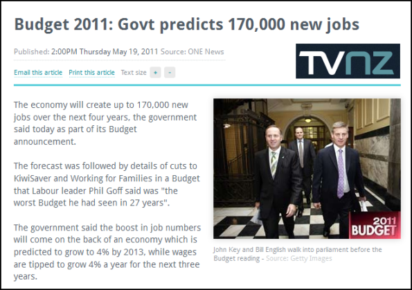 Budget 2011 - Govt predicts 170,000 new jobs