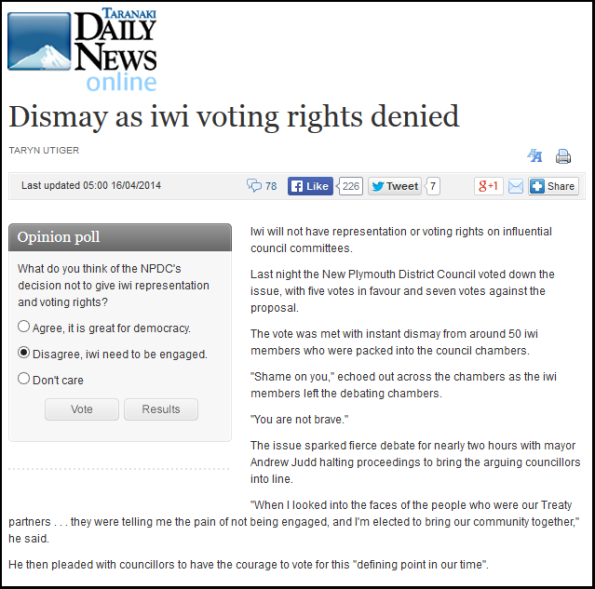 Dismay as iwi voting rights denied