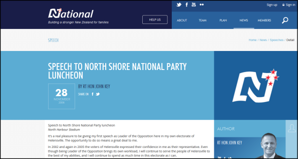 Speech to North Shore National Party luncheon screencap