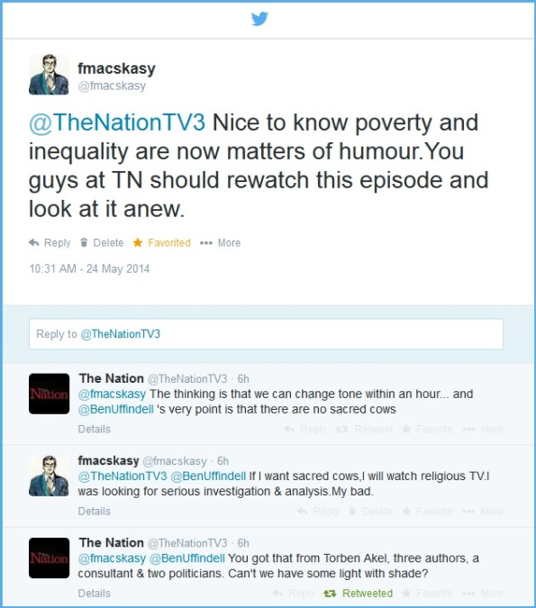 TV3 - The Nation - inequality -  Twitter feed 24 May 2014